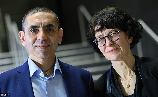 Ozlem Tureci (pictured with her husband), who co-founded the German company BioNTech with her husband, was working on a way to harness the body's immune system to tackle tumours when they learned last year of an unknown virus infecting people in China