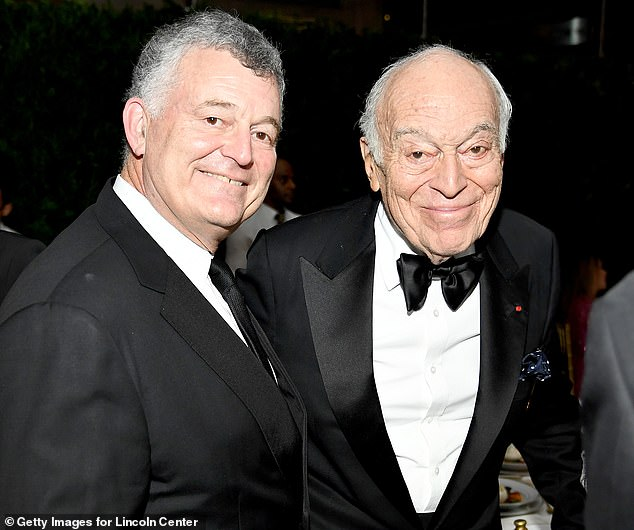 William Lauder is pictured with his billionaire philanthropist father Leonard A Lauder at the Lincoln Center Corporate Fashion Gala in New York City in November 2019