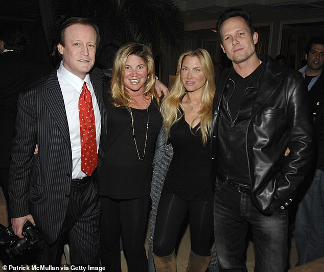 Taylor Stein (second right) attends the LEVIEV Party for 'GLAMOUR GIRLS' at the Sunset Tower Hotel in Los Angeles in 2008 with Patrick McMullan (left), Lara Shriftman (second left), and Dean Winters (right)