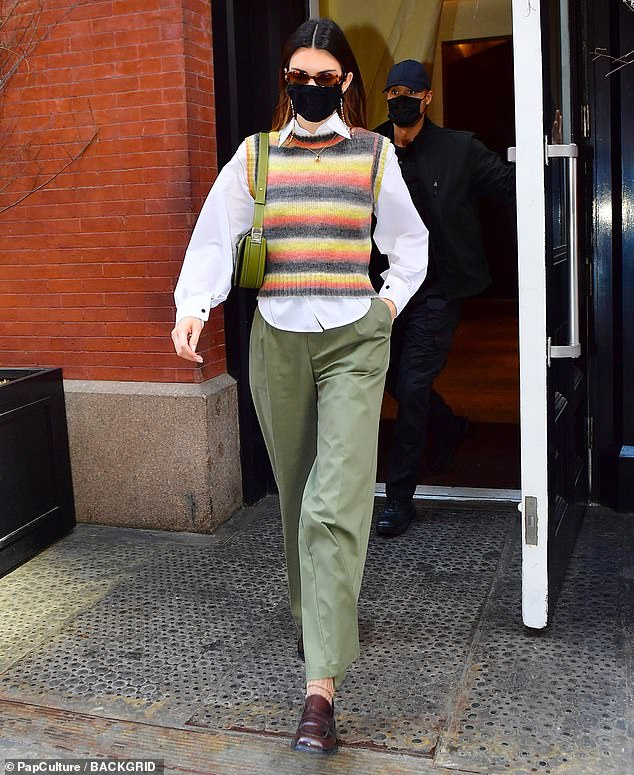 Stepping out: Kendall Jenner was seen leaving a New York City hotel in the city's Tribeca neighborhood on Sunday morning