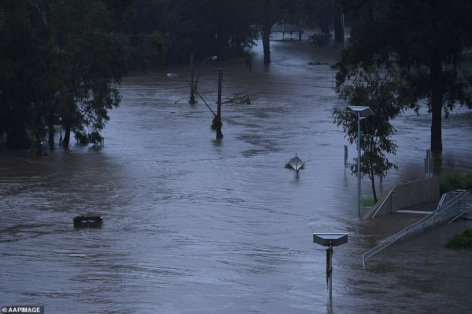Signs and light posts are submerged underwater on Monday from the flooded Nepean River in Sydney's west