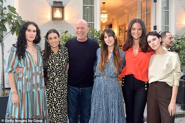 Blended: Willis and Moore have remained friends since their divorce in 2000;  they are pictured with their daughters Rumer, 32, Scout, 29, Talulah, 27, and Emma (second from right) in September 2019