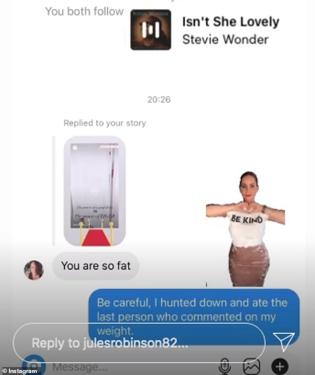 Rude: Commenting on one of the former Married At First Sight star's posts, the woman messaged Jules: 'You are so fat'