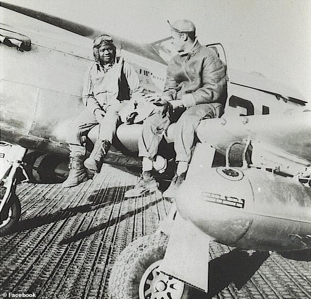 His great-uncle, was Norman Scales (left), a World War II fighter pilot who grew up in Austin, Texas