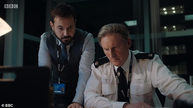 Arnott and Hastings:Fans were instantly hooked with the BBC One show averaging 9.57million viewers, a 44.5% share of the ratings (above Martin Compston and Adrian Dunbar)