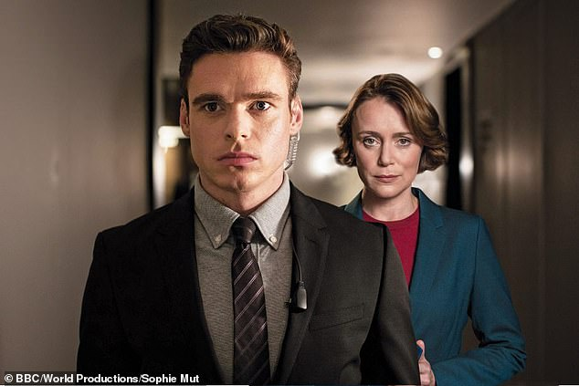 Smashed it:The episode also surpassed the opening episode of Jed Mercurio's other show Bodyguard -which got a 6.6million average in September 2018 (pictured Richard Madden and Keeley Hawes)
