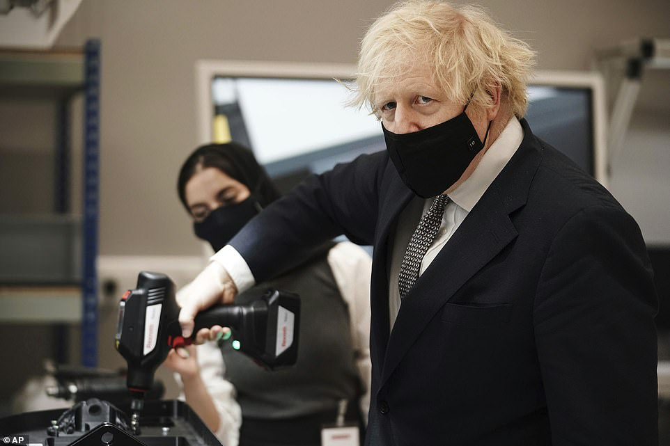 The fixer: Prime Minister Boris Johnson (pictured today) has sent one of his closest allies toIndia this week in hope of resolving the diplomatic stand-off which could see Britain miss out on 5m doses of AZ vaccine made at the nation's Serum Institute