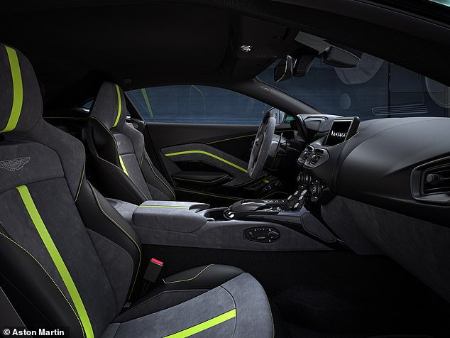 The interior features new Obsidian Black Leather and Phantom Grey Alcantara upholstery and trim, with a choice of Lime Green, Obsidian Black, Wolf Grey or Spicy Red contrast stripe and stitching