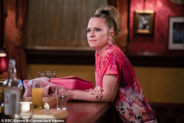 Expecting:The EastEnders actress and her husband Paul Stocker became pregnant for the third time after undergoing a frozen embryo transfer (pictured on EastEnders)