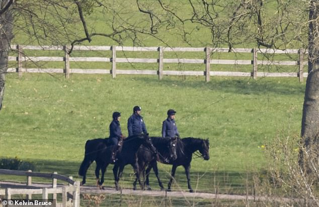 The Duke of York could be seen heading out horse-riding with two others at Windsor this morning