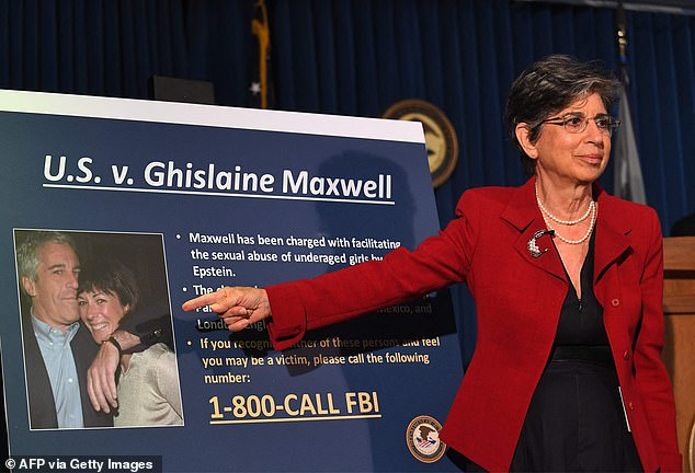 Maxwell, has been in jail since his July 2 arrest in Bradford, New Hampshire, at his million dollar country home.  Pictured: U.S. Southern District attorney Audrey Strauss announces charges against Maxwell at a press conference