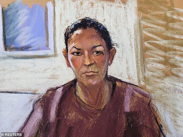Ghislaine Maxwell was denied bail for the third time after a judge said there was 'considerable doubt as to her willingness' to obey all release conditions.  Pictured: A court sketch shows Maxwell at his arraignment hearing on July 14, 2020