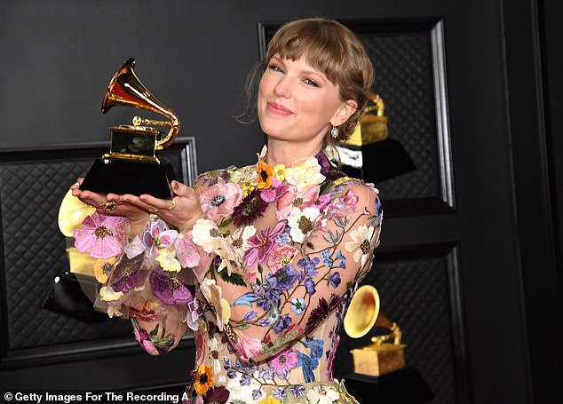Winner! She walked away with a Grammy for Album Of The Year for Folklore as she continues to truck forward with re-recording her old albums; pictured March 14