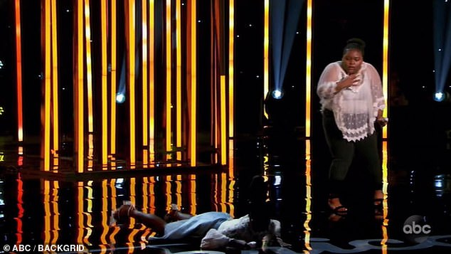 Hard fall:Seconds later, Funke fainted dead away, landing face-forward onstage with a sickening thud