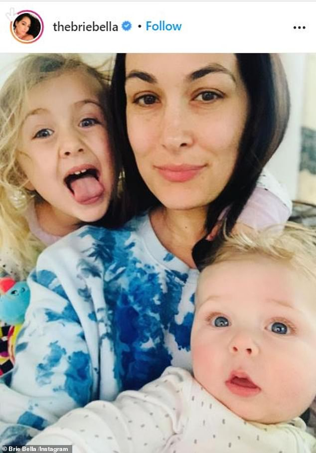 Her brood: Former WWE star Brie welcomed her first child, daughter Birdie, in May 2017. Her son Buddy arrived seven months ago