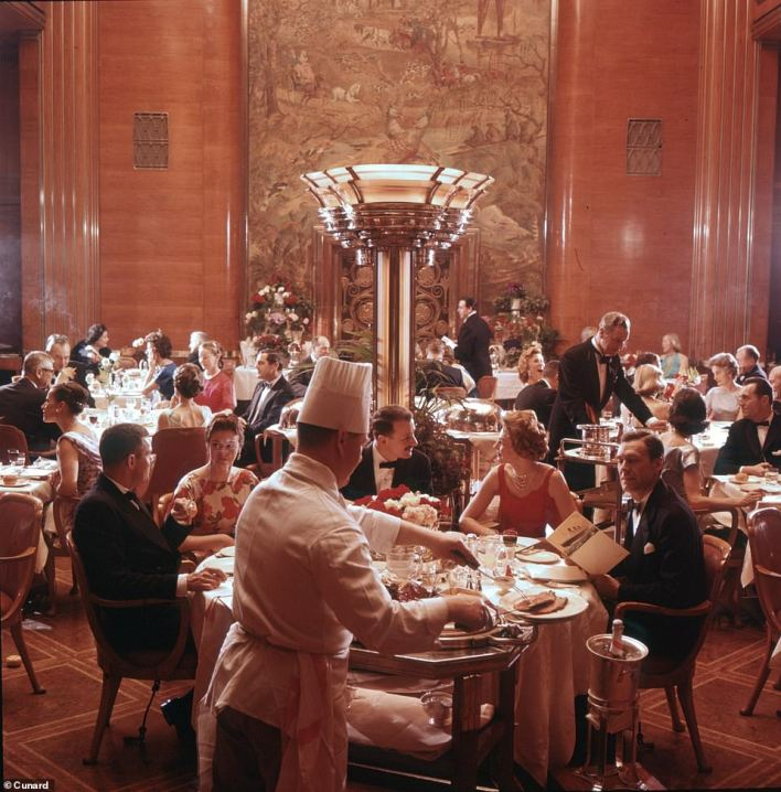 The first-class dining room on Queen Mary. This image is from an advert that was used in the ship's final years, 1965 to 1967