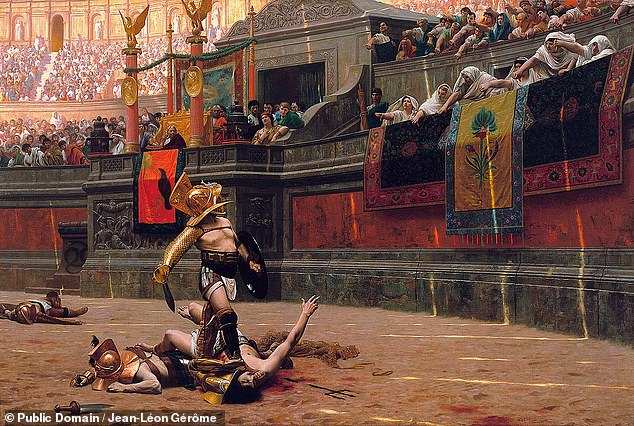 A gladiatorial fight in Rome's Colosseum, as depicted in 'Pollice Verso' an 1872 oil painting by France's Jean-Léon Gérôme