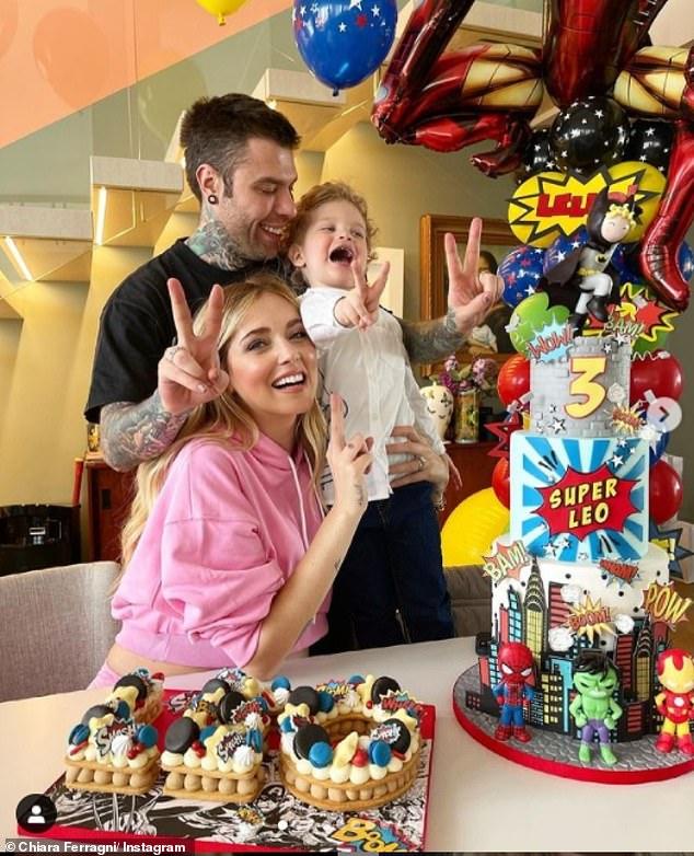 Happy families: Chiara and husband Fedez are already parents to son Leone, aka Leo