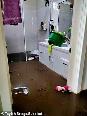 The bathroom was flooded (pictured)