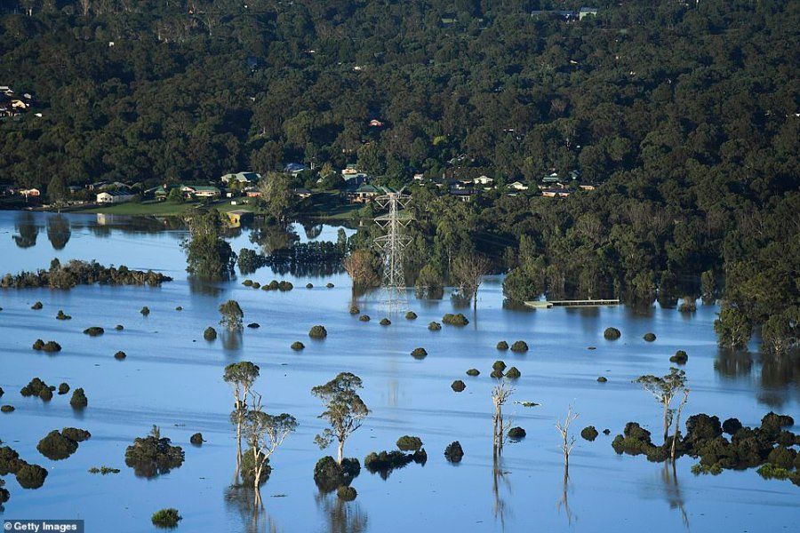 A flooded plain in the Windsor and Pitt Town area. Rescue crews have used boats and helicopters during the mass evacuations in New South Wales