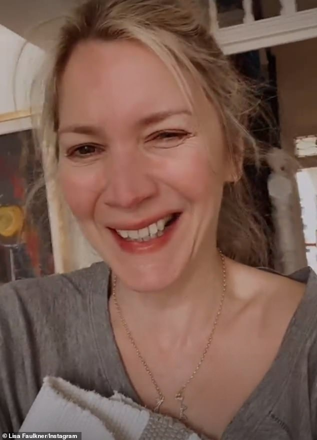 Awkward:The actress, 49, detailed the conundrum in a hilarious Instagram video, explaining she bent down to help clean up a smashed bottle while wearing a 'really loose' top