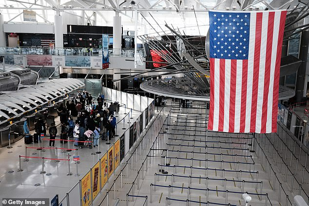 Mr Charles said the plans are 'proceeding positively' and said there were others in place for 'like-minded countries' which are ahead in dishing out Covid jabs. Pictured: JFK Airport in New York City in January