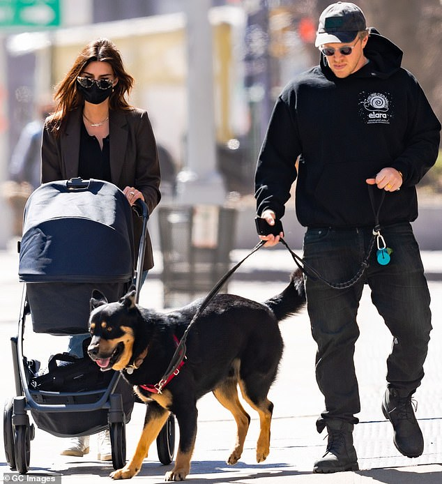 Family outing; Earlier this week she and her movie producer husband were seen taking Sylvester out in his stroller for a walk with their beloved dog Colombo