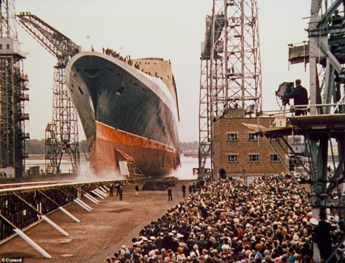 The QE2's thrilling launch by the Queen in 1967. She was billed as a 'resort at sea'