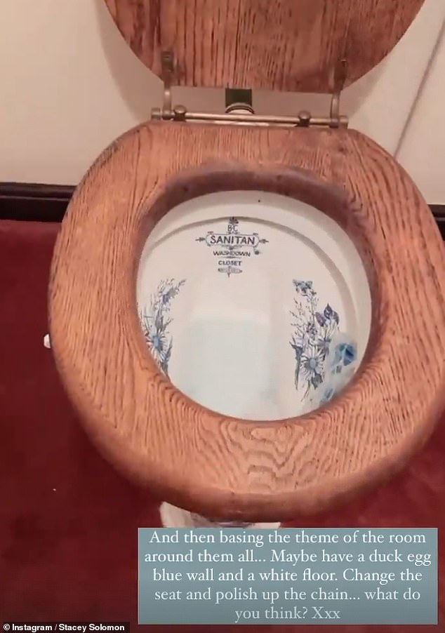 I love it! Stacey then gave fans a glimpse of her downstairs toilet with its decorated porcelain installations, confessing she was hoping to clean them up and use them