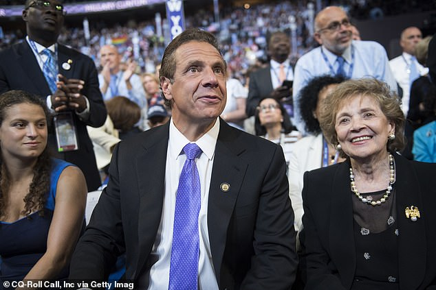 Testing on Governor Cuomo's family members came at the height of the pandemic when ordinary New Yorkers struggled to get access to screenings. Governor Cuomo (center) is seen above with his mother, Matilda, and his daughter, Cara, in 2016