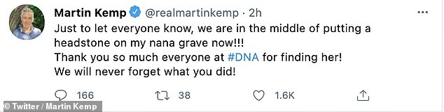 Update: The Spandau Ballet star told fans they were in the process of putting a headstone on his nana's grave in a tweet shared after the episode aired on Wednesday