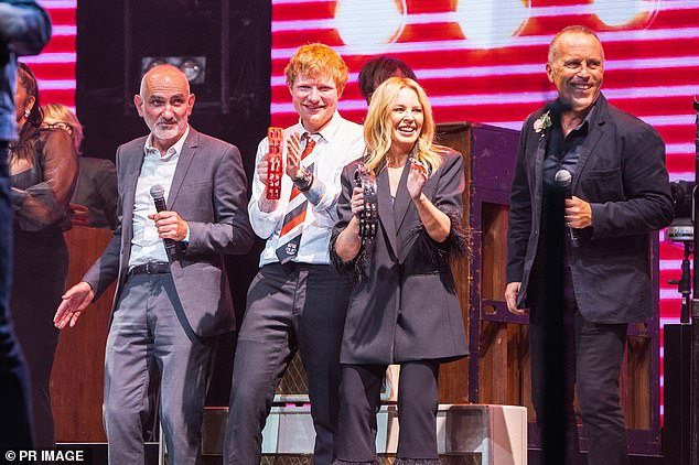 Star-studded: The event included performances from the likes of Kylie Minogue (centre right) and Ed Sheeran (centre left), and it's possible one of their songs caused the copyright issue