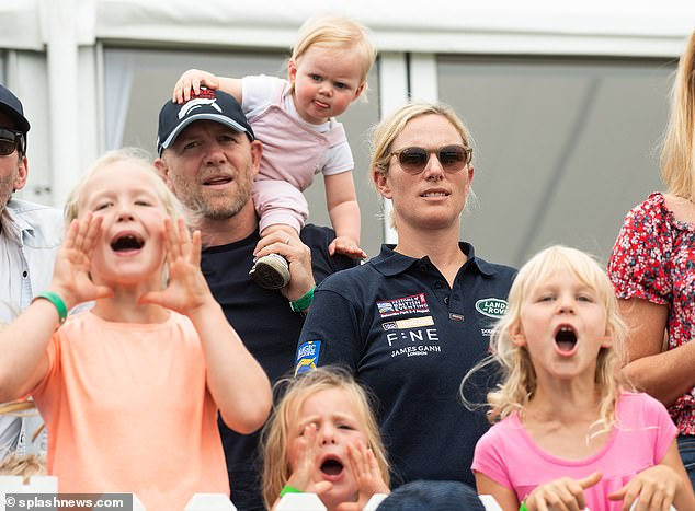 But a source claimed that Zara Tindall and her husband Mike had been playing peacemaker between the two for months before the Oprah interview. Pictured: Savannah Phillips,Mike Tindall, Lena Tindall, Mia Tindall, Zara Tindall and Isla Phillips at theFestival of British Eventing at Gatcombe Park in 2019