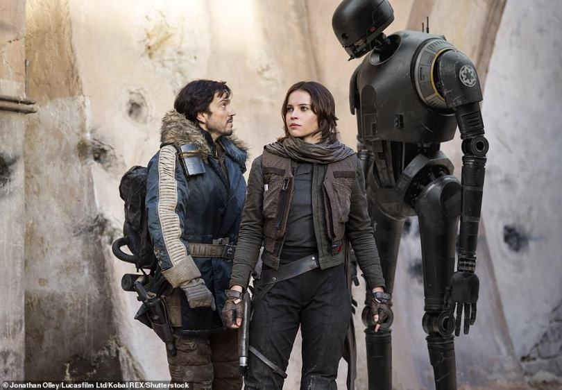 Rogue One:Disney+'s forthcoming Star Wars series is based on Rebel agent Cassian Andor [Diego Luna] from the 2016 film Rogue One (pictured with co-star Felicity Jones)