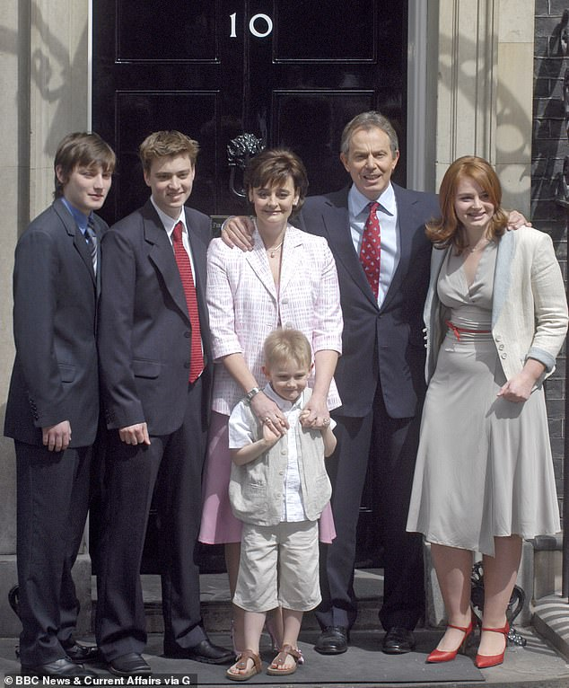 Meanwhile, former-prime minister Tony Blair sent his two eldest sons, Nicky (far left) and Euan (second left), to London Oratory with daughter Kathryn (far right) believed to have joined in sixth form