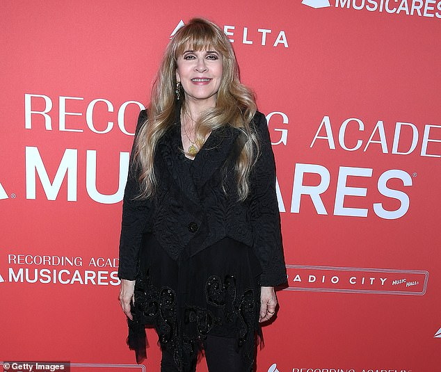 Stevie Nicks arrives at the 60th Annual GRAMMY Awards in New York City on January 26, 2018. The Fleetwood Mac singer, who penned the song 'Dreams,' blockedApodaca from selling is viral clip despite the TikTok post helping boost Fleetwood Mac music sales after its release