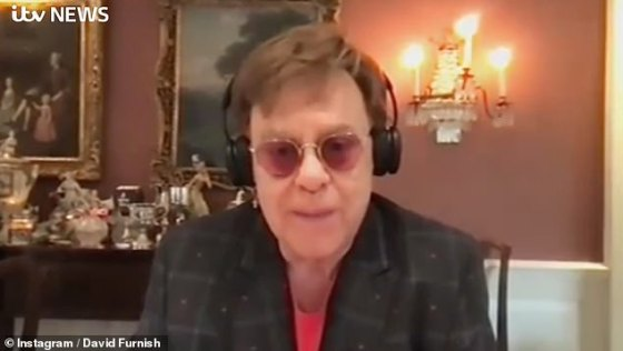 'Conditions are what they are': Elton recently gave a rare insight into his family life amid the nationwide coronavirus blockade while appearing on ITV News