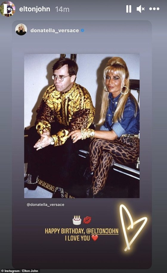 Throwback: Donatella Versace also sent good wishes, posting a snap next to the legend