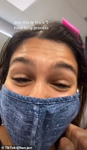 Process: The TikTok star shared footage of herself during the microblading session