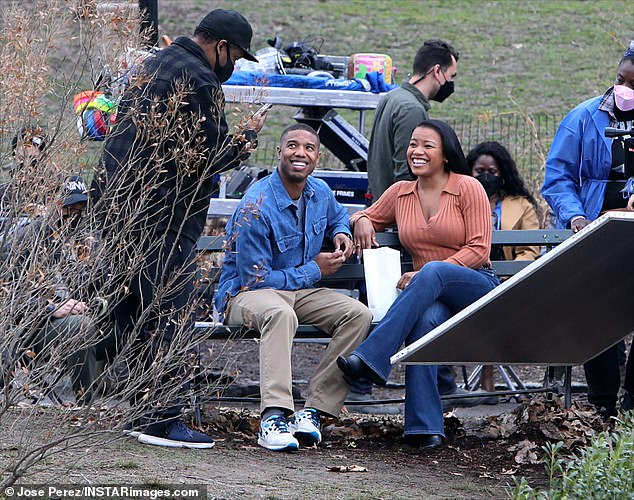 Director and stars:The duo were all smiles while interacting with their legendary director, Denzel Washington, who is directing his fourth feature film, following Fences, The Great Debaters and Antwone Fisher