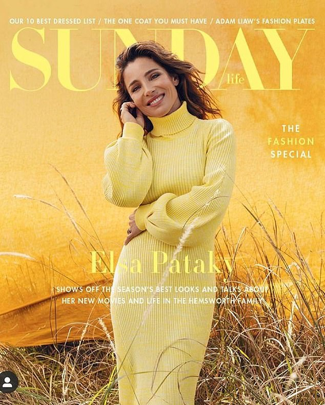 Cover girl: Elsa Pataky graced the cover of the latest edition of Sunday Life.The 44-year-old Spanish actress beamed in a yellow knit midi-dress for the magazine's fashion special