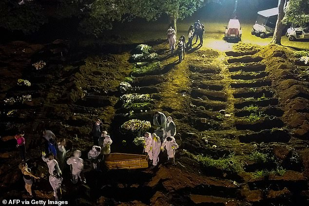 Pictured: Cemetery workers carry a coffin during the first burial at night amid the coronavirus pandemic at the Vila Formosa cemetery in Sao Paulo, Brazil, on March 25, 2021