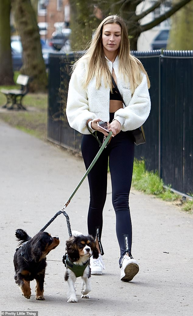Stylish: Zara completed the look with a pair of fresh white trainers and accessorised with an enviable cross body Fendi bag