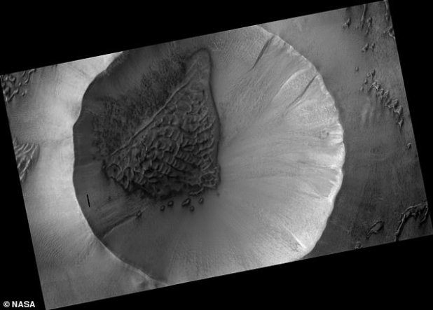 This is a map projection taken by Orbiter showing the location of the sand dune field within the 3-mile-wide crater on Mars.