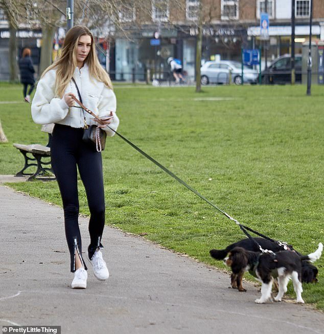 Gym ready: The Missguided brand ambassador was dressed head to toe in rival clothing label PrettyLittleThing