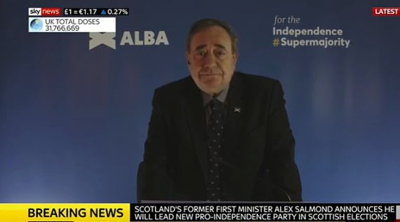 Alex Salmond has announced he'll lead a new Scots political party ahead of the May elections in a broadcast riddled with tech errors