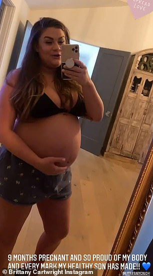 Happy: The wife of Jax Taylor displayed her baby bump in a snap