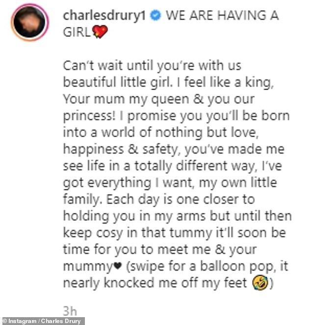 'Each day is one closer to holding you': Charles recently took to social media to reveal they are expecting a baby girl