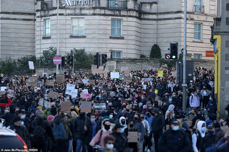 Protestors gather on College Green, Bristol ahead of the third 'Kill the Bill' protest against new policing powers this evening