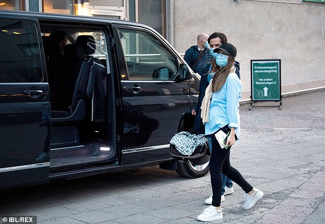 Princess Sofia wore her brown hair loose and kept a low profile in a black cap as she entered a waiting vehicle